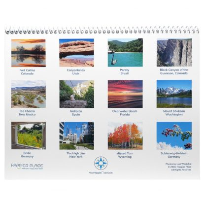All the photos featured in the Happier Place 2019 Nature Photography Calendar
