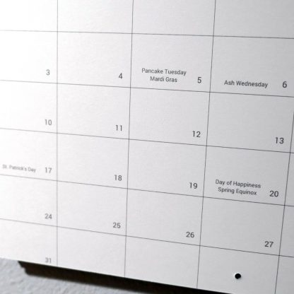 Detailed view of dates on 2019 Nature Photography Calendar - HappierPlace