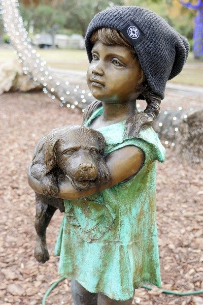 Happier Place Slouchy Beanie in charcoal worn by the I love my puppy sculpture in Largo Central Park