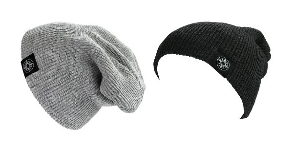 Happier Place Slouchy Beanies in light grey and, charcoal with Happier Place compass logo on fold-over cuff.