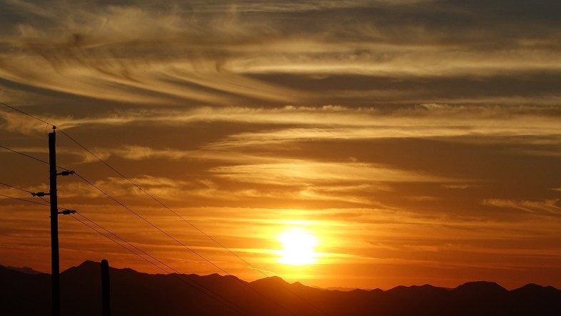 Desert sunset over the mountains west of Tucson, Arizona.