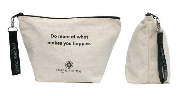"""""""Do more of what makes you happier"""" canvas always-ready bag - Happier Place - H014-BAG-HA"""