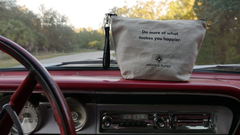 Do more of what makes you happier bag going for a ride in a 1964 Ford Fairlane