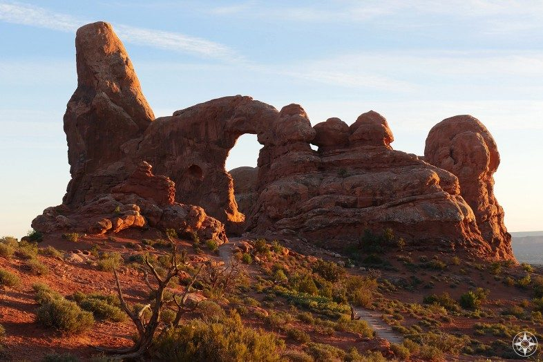East side of Turret Arch during Golden Hour.