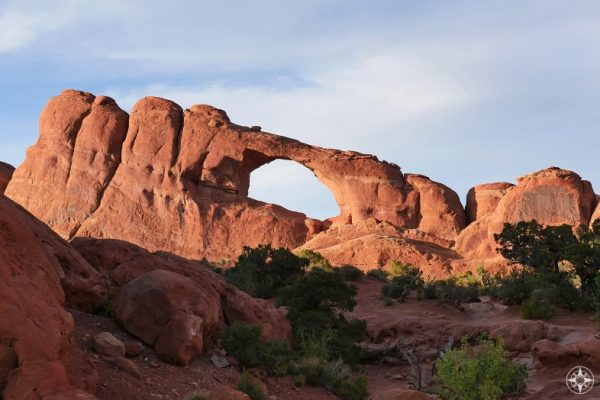 Skyline Arch along one of the easy trails in the Devils Garden section of Arches National Park.
