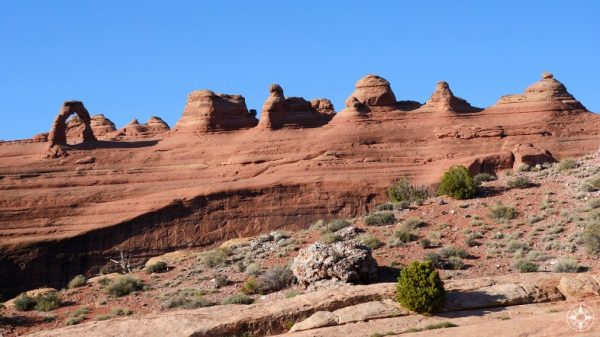 Delicate Arch next to a line of rock formation which may be future arches...