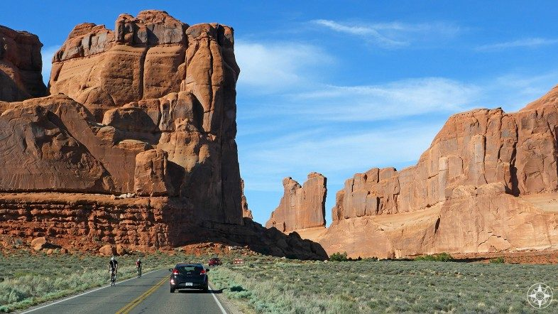 Arches National Park Scenic Drive along the Park Avenue rock formation.