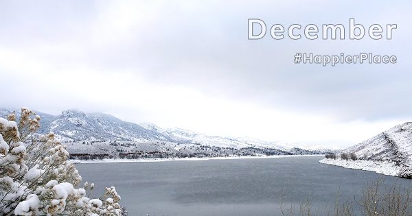 Snow-covered Horsetooth Reservoir, Colorado, representing HappierPlace Instagram Favorites December 2018
