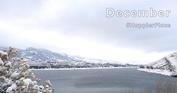 Snow-covered Horsetooth Reservoir, Colorado, representing HappierPlace Instagram Favorites December 2018