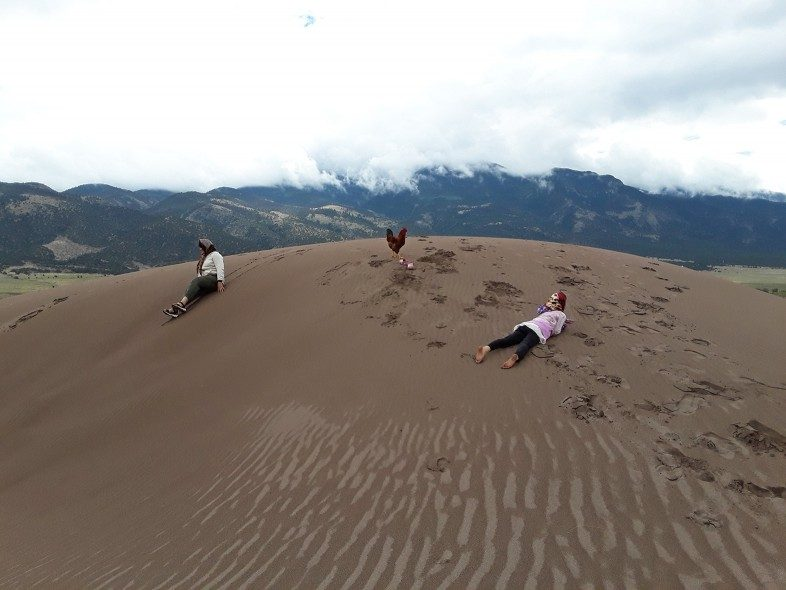 Two people and one rooster in Great Sand Dunes National Park, Colorado.
