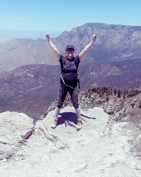Jessica on the highest peak in the south rim of Sandia Mountains, New Mexico.