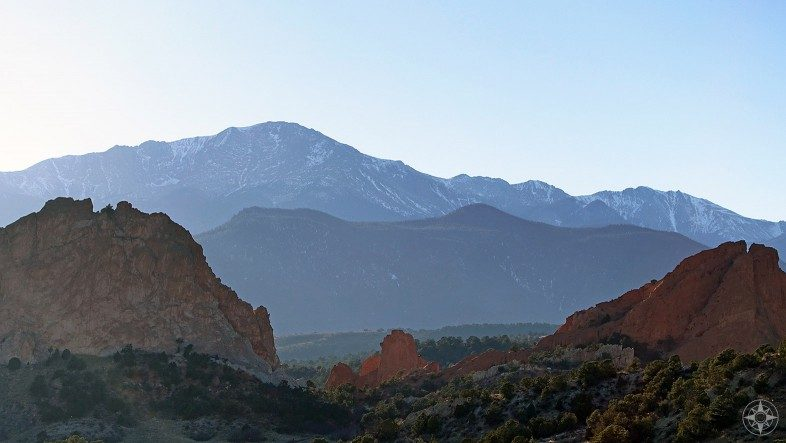 Garden of the Gods rock formations with Pikes Peak as a backdrop.
