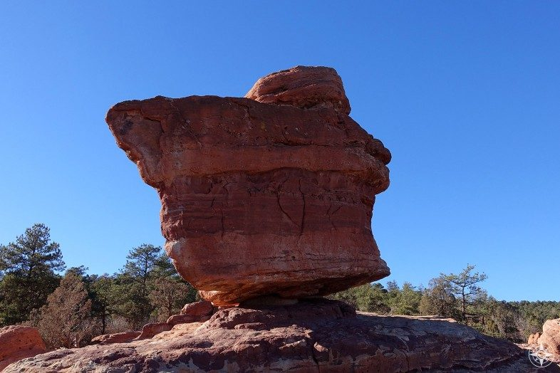 Balanced Rock in the Garden of the Gods in Colorado Springs.