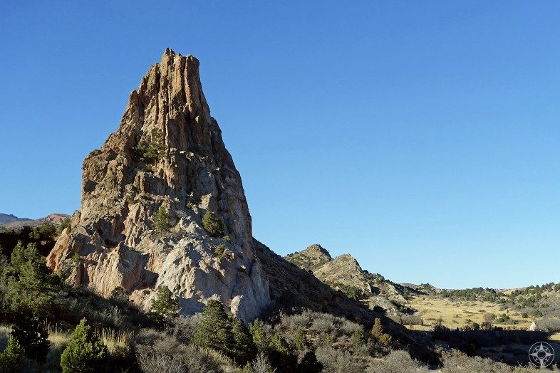 Kindergarten Rock offers a nice contrast to the red rock formations.