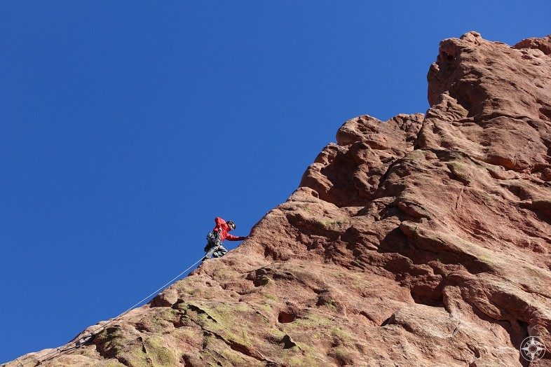 Climber on the North Ridge of Montezuma's Tower in Garden of the Gods, Colorado Springs.