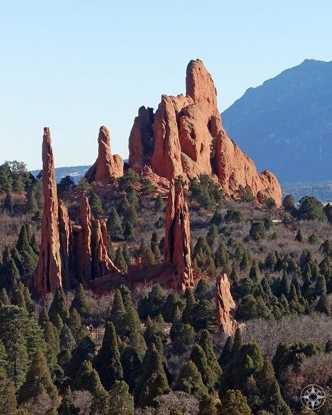 Cathedral Spires, Three Graces and the Sleeping Giant in Cathedral Valley, Garden of the Gods, Colorado Springs.