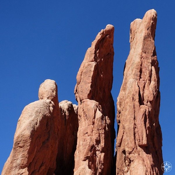 The Top of the red rock formation Three Graces in Garden of the Gods, Colorado.
