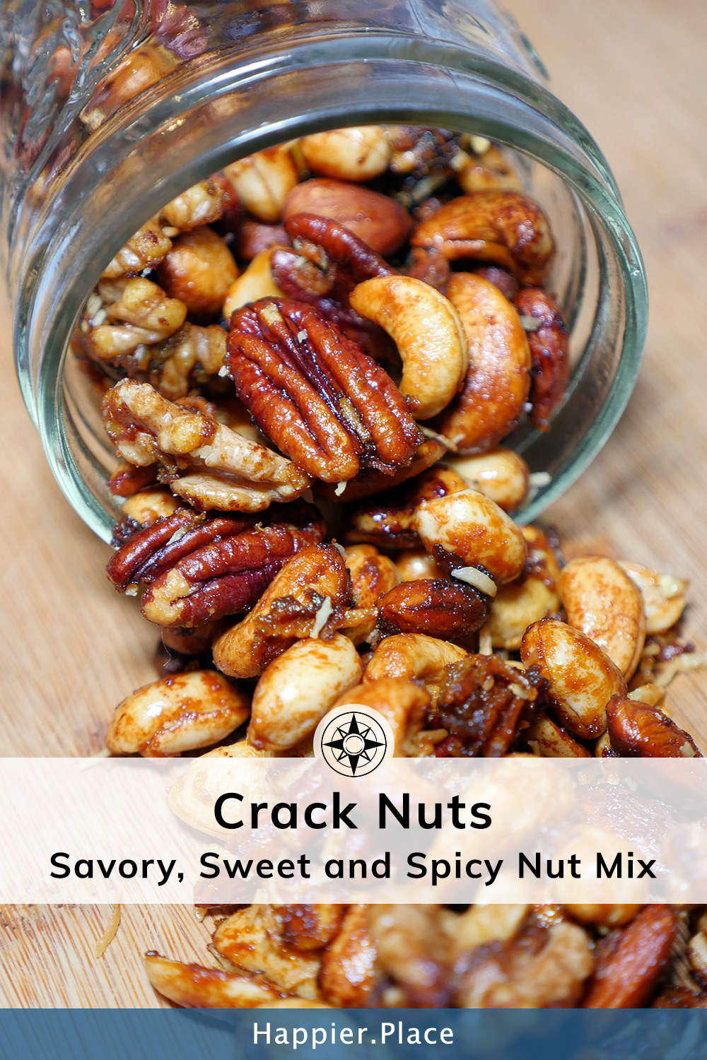 Elevate your next party or outdoor adventure with this irresistible savory, sweet and spicy nut mix. The well-balanced mixed nuts, with just a hint of curry and coconut, are ideal as fancy cocktail nuts or an exotic trail mix. #recipe #easyrecipe #snacks #HappierPlace