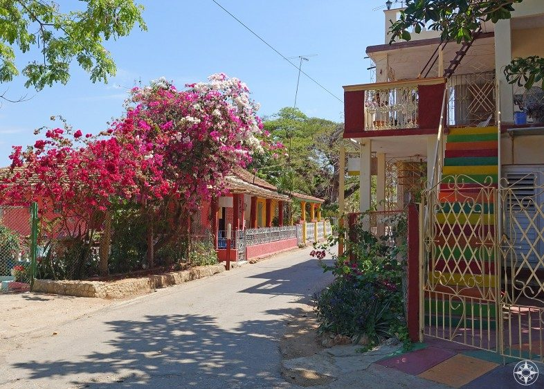 Colorful stairs, buildings and flowers in La Boca, Cuba.