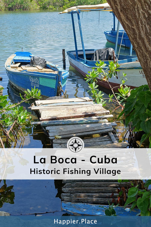 Small village fishing boat harbor in Caribbean Seaside Village La Boca, Cuba.