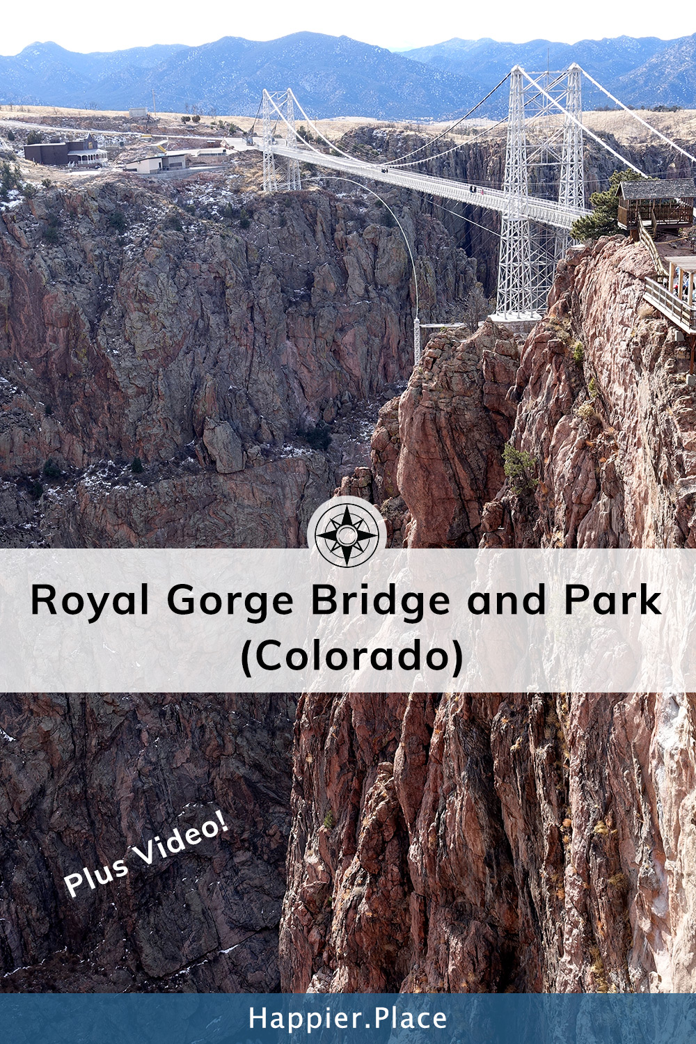 Record-breaking Royal Gorge Bridge in Canon City, Colorado. Once the highest bridge in the world! Happier Place Tips, Photos and even a Video!  #Colorado #HappierPlace #USA #outdoorguide #travelvideo #travel #outdoors