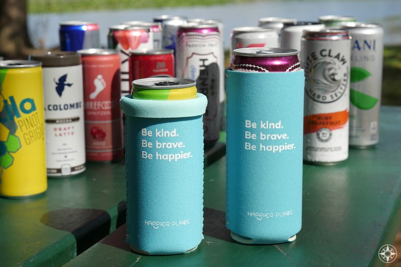 Happier Place Neoprene Slim Can Koozie Hard Seltzer wine coffee drinks
