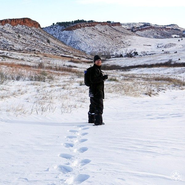 Scott forging ahead on a mellow snowshoeing trip into Lory State Park, Colorado.