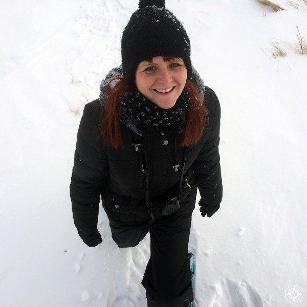 Luci all bundled up and loving another Colorado snowshoeing venture.