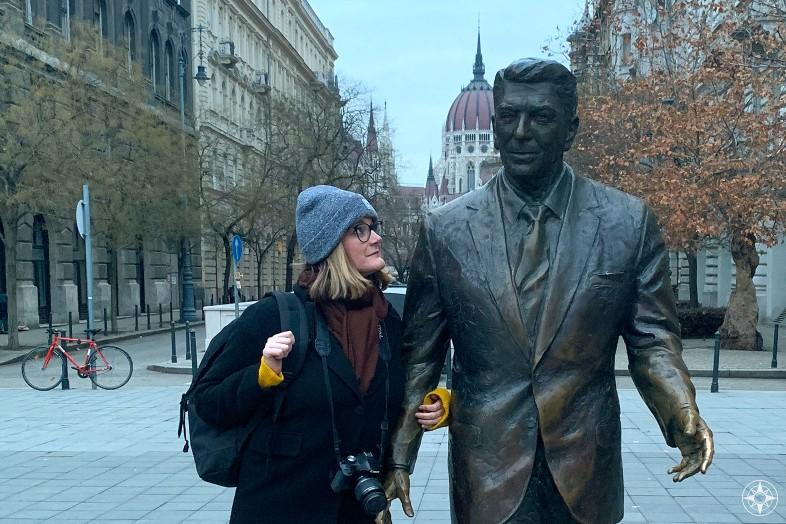 Cheryl Howard Ronald Reagan statue Budapest Happier Place
