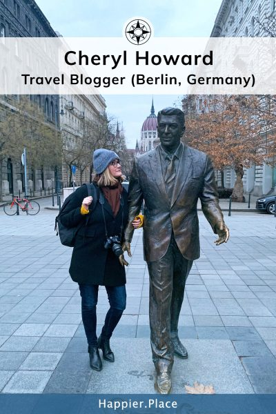Expat Living and Travel Blogger Cheryl Howard and the Ronald Reagan statue in Budapest