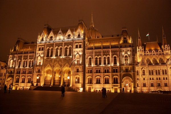 Parliament Building in Budapest, Hungary, at night.