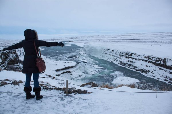 Cheryl at the Gullfoss Waterfall in Iceland.