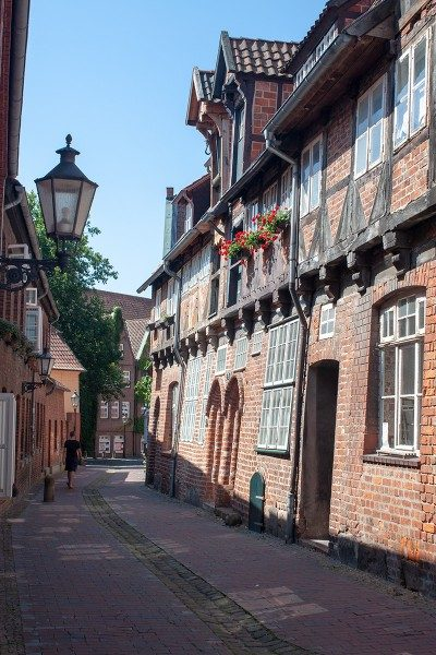 Cobblestone alley in Lüneburg, where you can find the German Salt Museum!