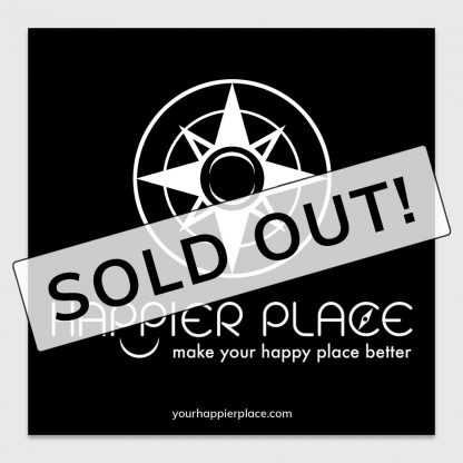 Happier Place logo sticker on black