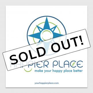 Happier Place logo sticker on white