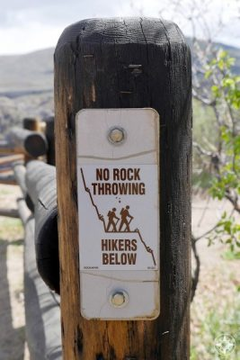 """No Rock Throwing - Hikers Below"" sign on the South Rim of the Black Canyon"