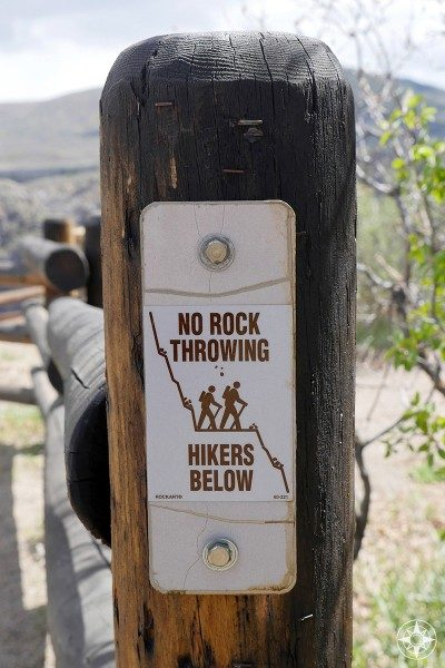 """""""No Rock Throwing - Hikers Below"""" sign on the South Rim of the Black Canyon"""