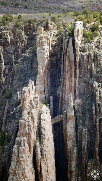 Falling rock held by crags in the Black Canyon