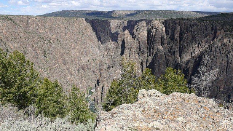 Looking into the canyon from one of 12 official overlooks along the South Rim of the Black Canyon in Colorado