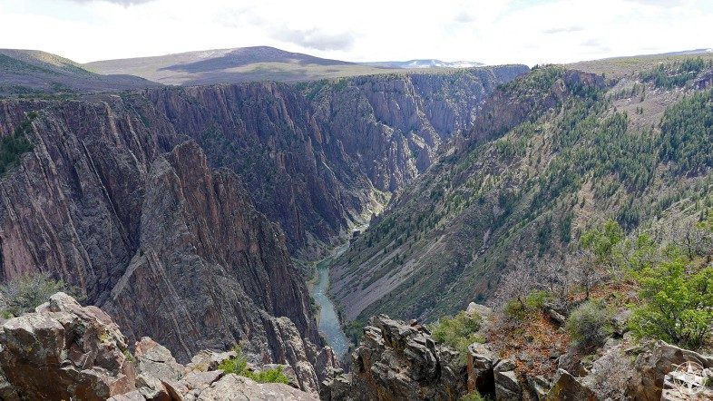 View of Gunnison River flowing through the Black Canyon - seen from Pulpit Rock Overlook