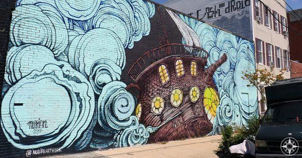 International Street Art in Bushwick, Brooklyn. Ship by French Artist Nubian.