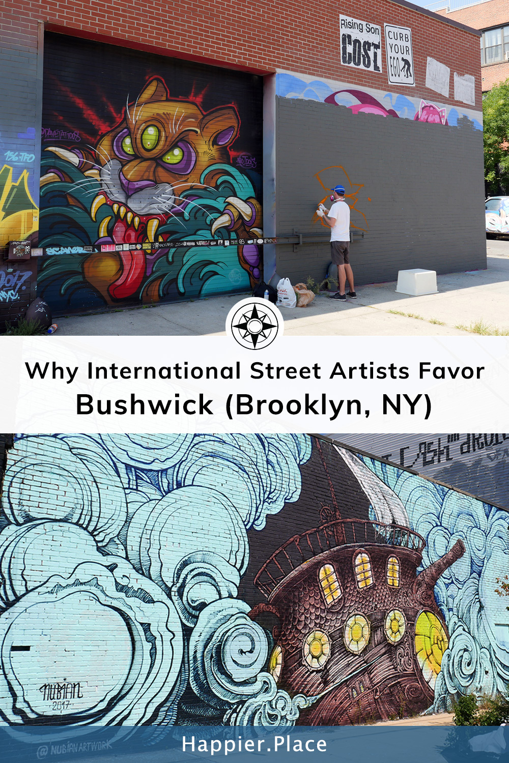 Big diverse and ever changing collection of international and street art in bushwick