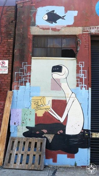 Cassette Tape Dude and a Fish - Street Art in Bushwick (Brooklyn)