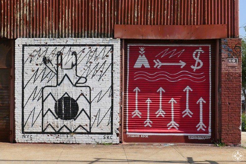 Standing Rock Water is Life mural in NYC Taking a stand for Standing Rock - Water is Life by Spencer Keeton Cunningham Brooklyn