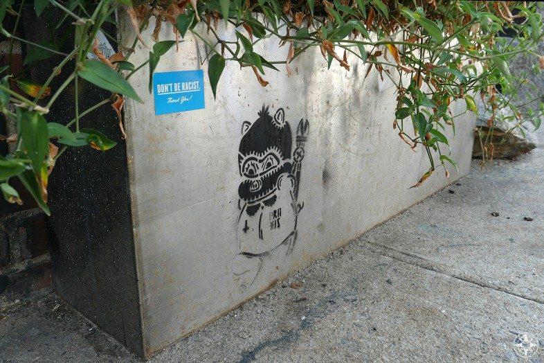 Sticker stencil don't be racist thank you Praxis urban art