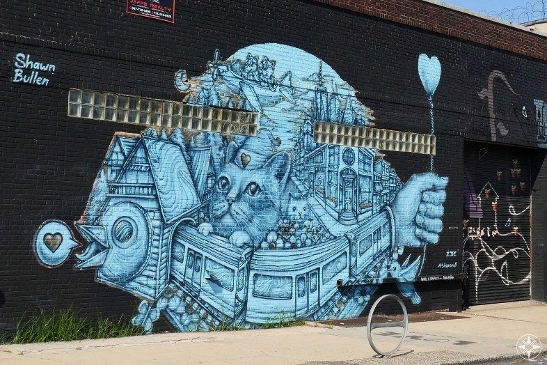 blue cat train bird cityscape mural Shawn Bullen Brooklyn