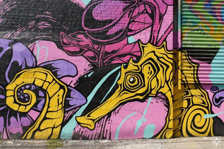 Detail of a large seahorse mural by Tim Phibs and George Rose on Meserole Street
