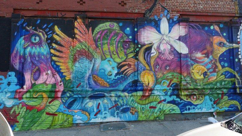 Rain Forest birds plants mural Eder Muniz Brooklyn street art