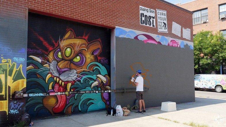 Graffiti artist spraying tiger mural cost poster Brooklyn