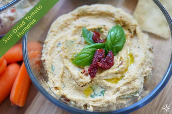 Sun-dried Tomato Hummus with Basil - Happier Place Recipe